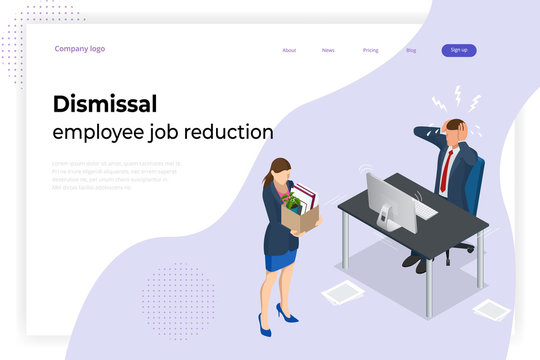 Isometric dismissal, severance, termination in case. Economic crisis caused by coronavirus. Unemployment, jobless and employee job reduction metaphor.