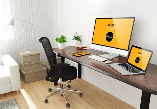 Home Office Desktop Mockup