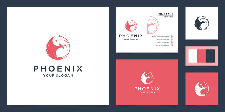 illustration of phoenix bird logo. bird logo, strength, greatness, prosperity and life. Design logos, icons and business cards. Premium vector.