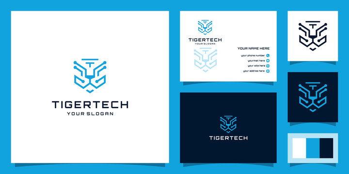 illustration of tiger technology logo. modern, sophisticated and savage logos. Design logos, icons and business cards. Premium vector.