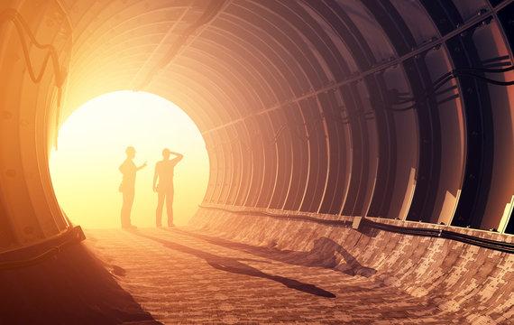 Workers in mine, 3d render