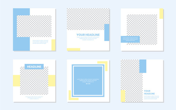 Slides Abstract Unique Editable Modern Social Media Banner Pastel Soft Baby Blue Yellow Template. Anyone can use This Design Easily. Promotional web banner for social media. Vector Illustration