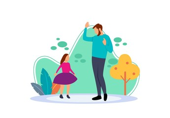 Flat illustration of dad and little girl dancing happily at home. Cartoon characters with the concept of father's affection for girls. Activities when you have free time.