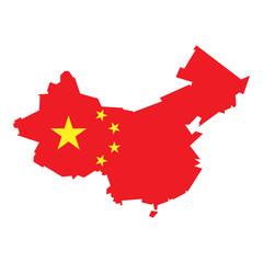 Fototapeta Chińska flaga. Mapa kontur. Ilustracja wektorowa. obraz