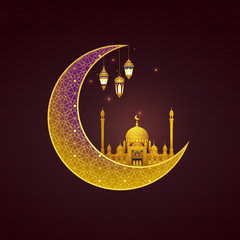 Vector golden card fo Islamic Holidays. Eid Mubarak card. Banner for Happy Eid wishing.