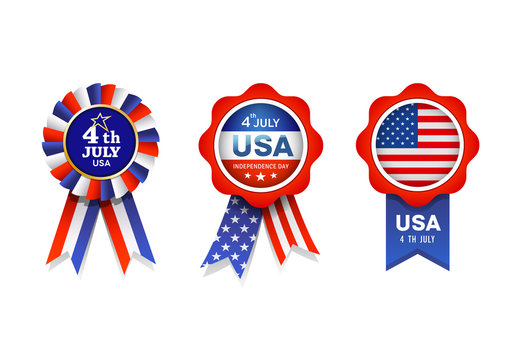 Vector Ribbon award flag of United States, collections design isolated on white background, illustration
