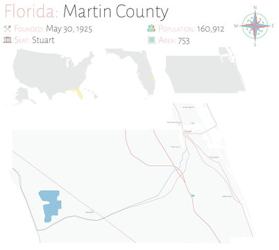 Large and detailed map of Martin county in Florida, USA.