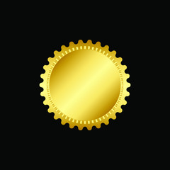 Round golden badge isolated on a Black background, seal stamp gold luxury elegant banner con, Vector illustration certificate gold foil seal or medal isolated.