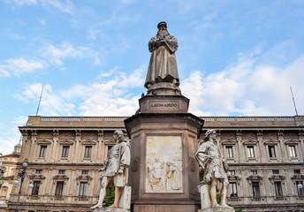 Leonardo da Vinci monument in front of La Scala theater, Milan, Italy