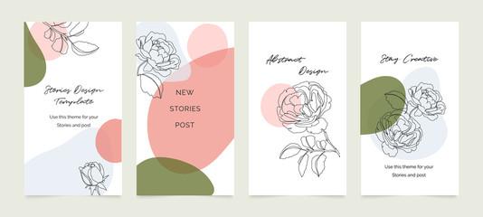Papiers peints Echelle de hauteur Social media banner template. Editable mockup for stories, post, blog, sale and promotion, Rose flower line arts background design for personal, fashion and beauty blogger.