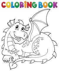 Zelfklevend Fotobehang Voor kinderen Coloring book lying dragon theme 1