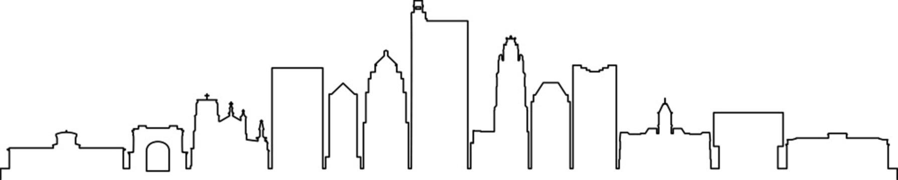 COLUMBUS OHIO City Skyline Silhouette Cityscape Vector
