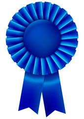 A blue first place prize ribbon. Vector illustration.