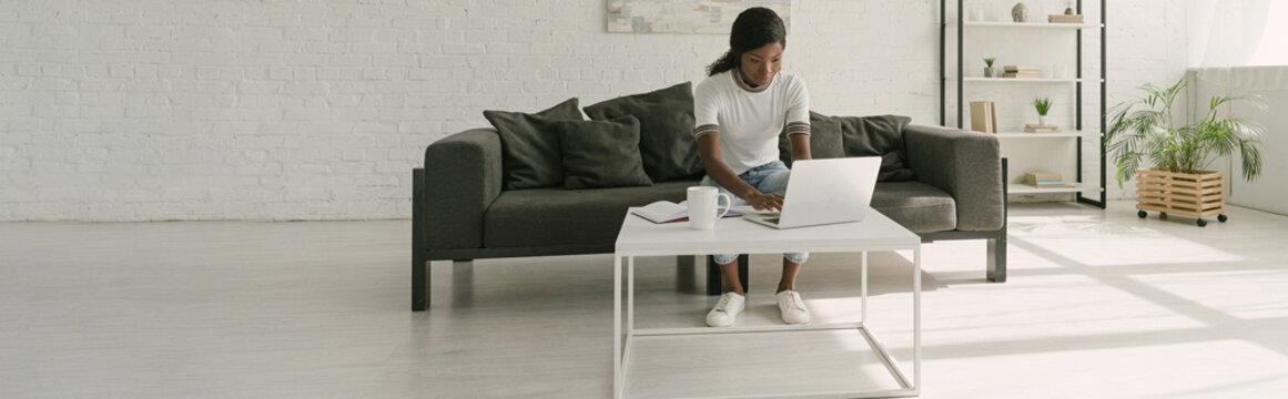 horizontal image of african american freelancer working on laptop in spacious living room