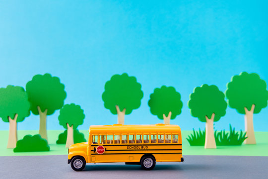 Art design picture of school bus taking kids from home to primary school fast speed highway isolated over bright vivid shine vibrant blue color background