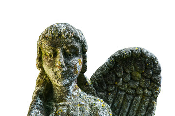 Fotomurales - Close up of angel with one broken wingwings. Monochrome image of vesy ancient stone statue isolated on white background. Horizontal image.