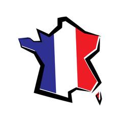 Fototapeta Flaga Francji. Kontur mapy. Ilustracja wektorowa.