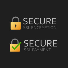 SSL secure certificate icon or safe encrypted payment vector symbol flat cartoon on isolated dark background, illustrated ssl encryption text with lock data protection as https technology modern image