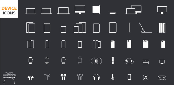 Vector Style Device Icons Set: Desktop Computer, Laptop, Tablet, Smartphone, Headphones, Watch, Gadgets and Accessories for Web and App