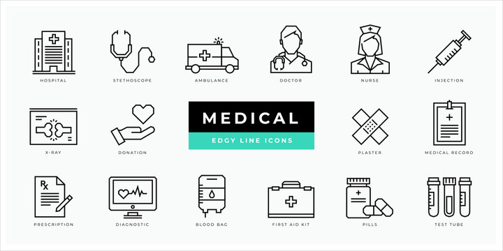 Medical icon set - minimal thin outline, web icon and symbol collection – hospital, doctor, care, lab, medicine, health, ambulance, emergency, nurse, pills, blood. Simple edgy vector illustration.