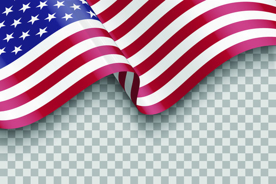 flag of united states of america. vector waving flag of USA isolated on transparent background with shadow