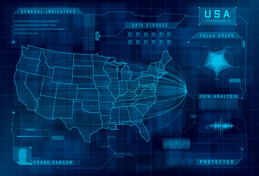 HUD map of the USA. Set of HUD callout design elements. Cybersecurity, information security, big data analytics, safety system. Futuristic digital background. Vector