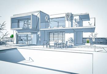 Esquisse de plan d'une belle maison d'architecte moderne avec piscine et jardin