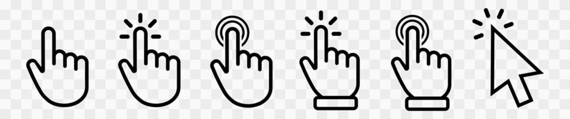 Vector hand cursors icons click set