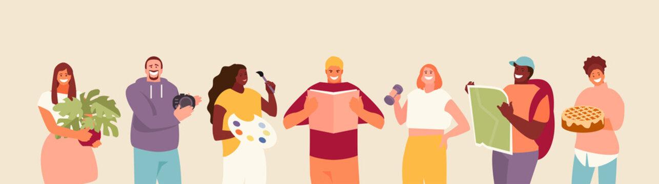 People hobbies and favorite activities. Vector characters set