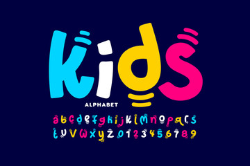 Kids style colorful font design, playful childish alphabet, letters and numbers