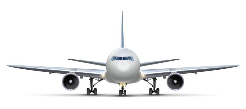 3d realistic vector airplane. Isolated on white background aircraft, front view.