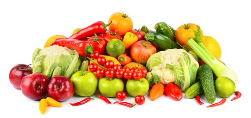 Wall Mural - Set of fresh and healthy vegetables and fruits isolated on white