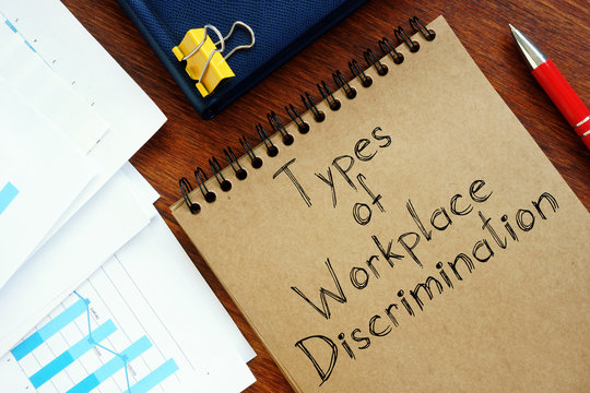 Types of Workplace Discrimination are shown on the conceptual photo