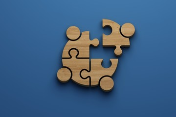 Wooden Teamwork jigsaw puzzle People logo with free copy space for your text banner. 3D Render illustration