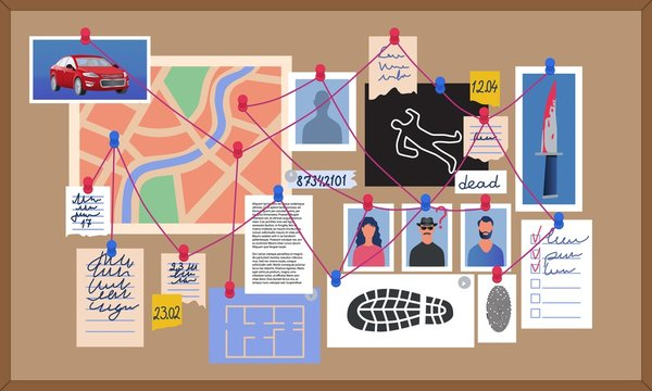 Homicide detectives board showing clues and suspects, a crime scene map, weapon, vehicle and notes, colored vector illustration