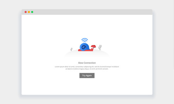 Modern flat design concept of snail walk slowly, Slow connection for website and mobile website. empty states page template