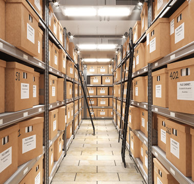 Piles of files and documents are placed on metal shelves with folders and documents in a cardboard box, archive, pantry. 3d illustration