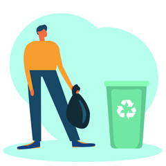 man throws away trash into green trash bin with recycling symbol. Vector flat illustration