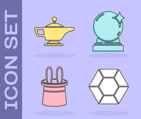 Set Magic stone, Magic lamp or Aladdin, Magician hat and rabbit ears and Magic ball icon. Vector