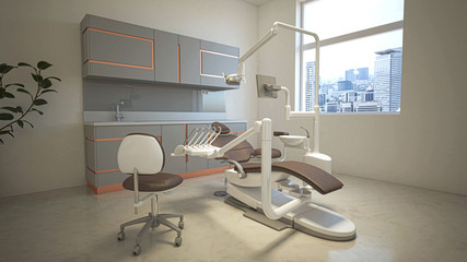 Interior of a dental office with dentist chair, stomatology, 3d rendering, 3d illustration