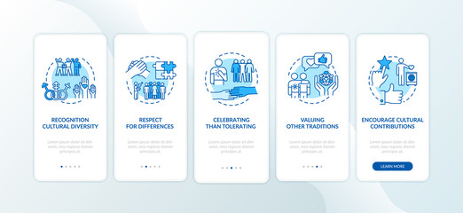 Fototapeta Multi racial respect onboarding mobile app page screen with concepts. Multi national unity walkthrough 5 steps graphic instructions. UI vector template with RGB color illustrations obraz