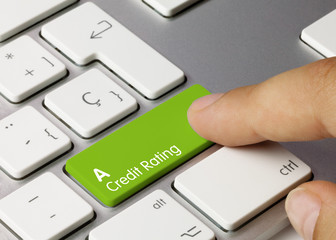 Foto op Aluminium Londen A Credit rating - Inscription on Green Keyboard Key.