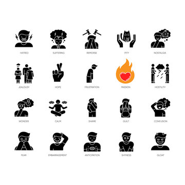 Human feelings black glyph icons set on white space. Psychological treatment. Positive attitude. Negative behaviour. Moral and social emotion. Silhouette symbols. Vector isolated illustration