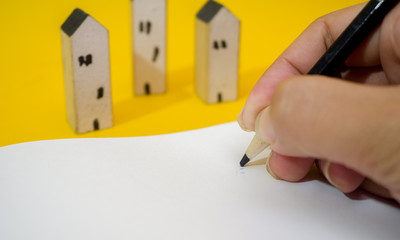 Wall Mural - Hand writing books and house planning