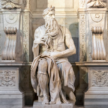 Statue of Moses in San Pietro in Vincoli, Saint Peter in Chain, church in Rome, Italy.