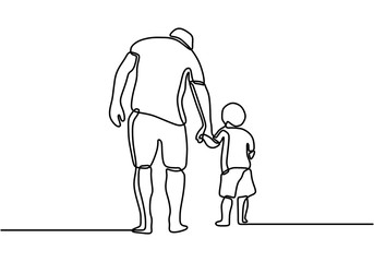 One line drawing of father and his son walking minimalist design. Happy young father holding his son walking and story telling all the way. The character dad walks with the child.