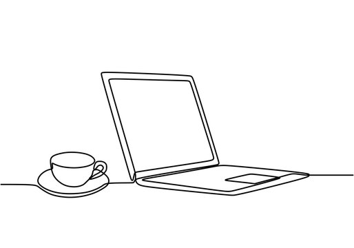 Continuous one line drawing of computer laptop and a cup of coffee or tea at business office desk minimalism design vector. Work space table concept. Simplicity single hand drawn sketch line art.
