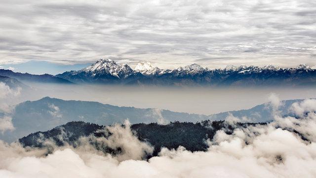 Himalayas mountains in Nepal, on the flight from Lukla to Kathmandu.