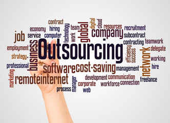 Outsourcing word cloud and hand with marker concept