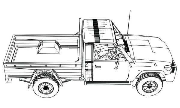 Pickup truck in outline. Vehicle template vector isolated on white.